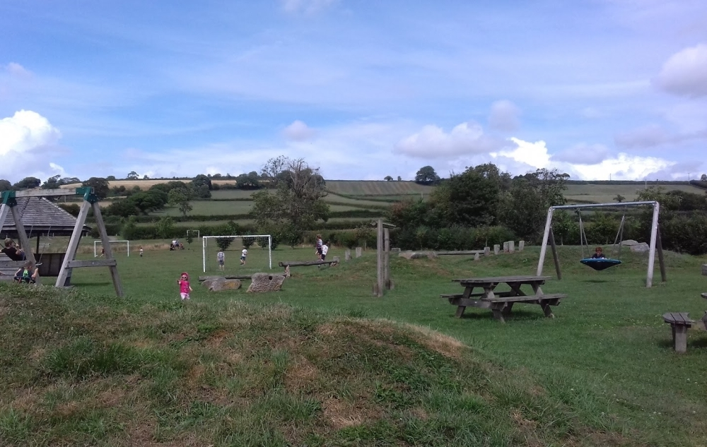 Play park set against backdrop of fields