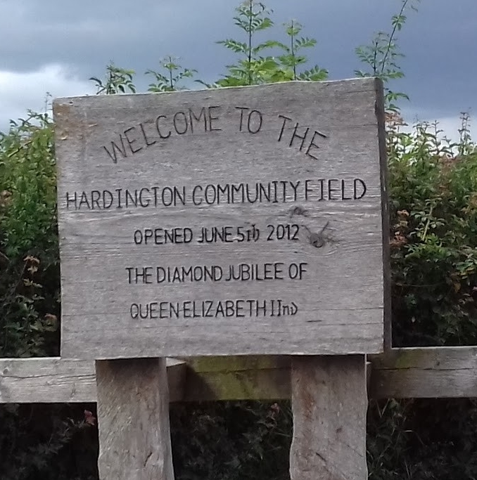 A sign to say Welcome to the Hardington Community Field