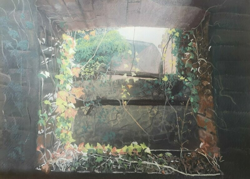 Old stone steps covered in ivy with light flooding in