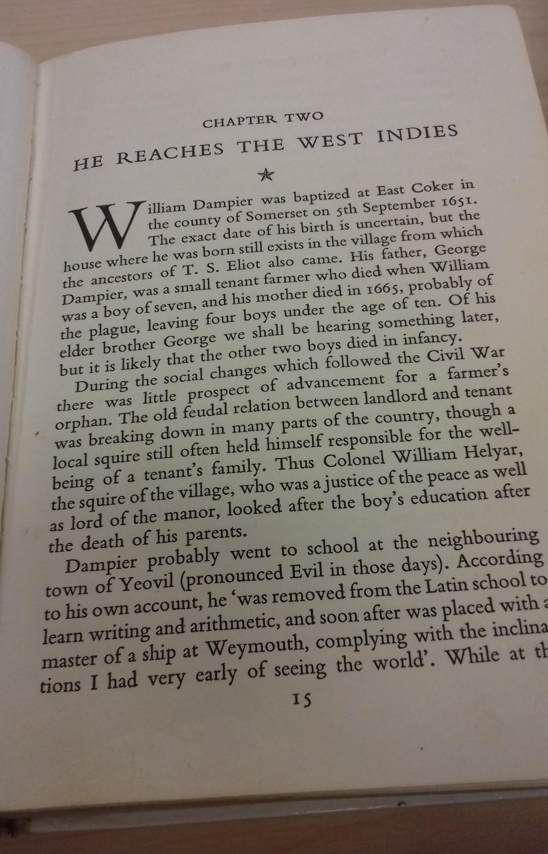 A page of the book describing Dampier