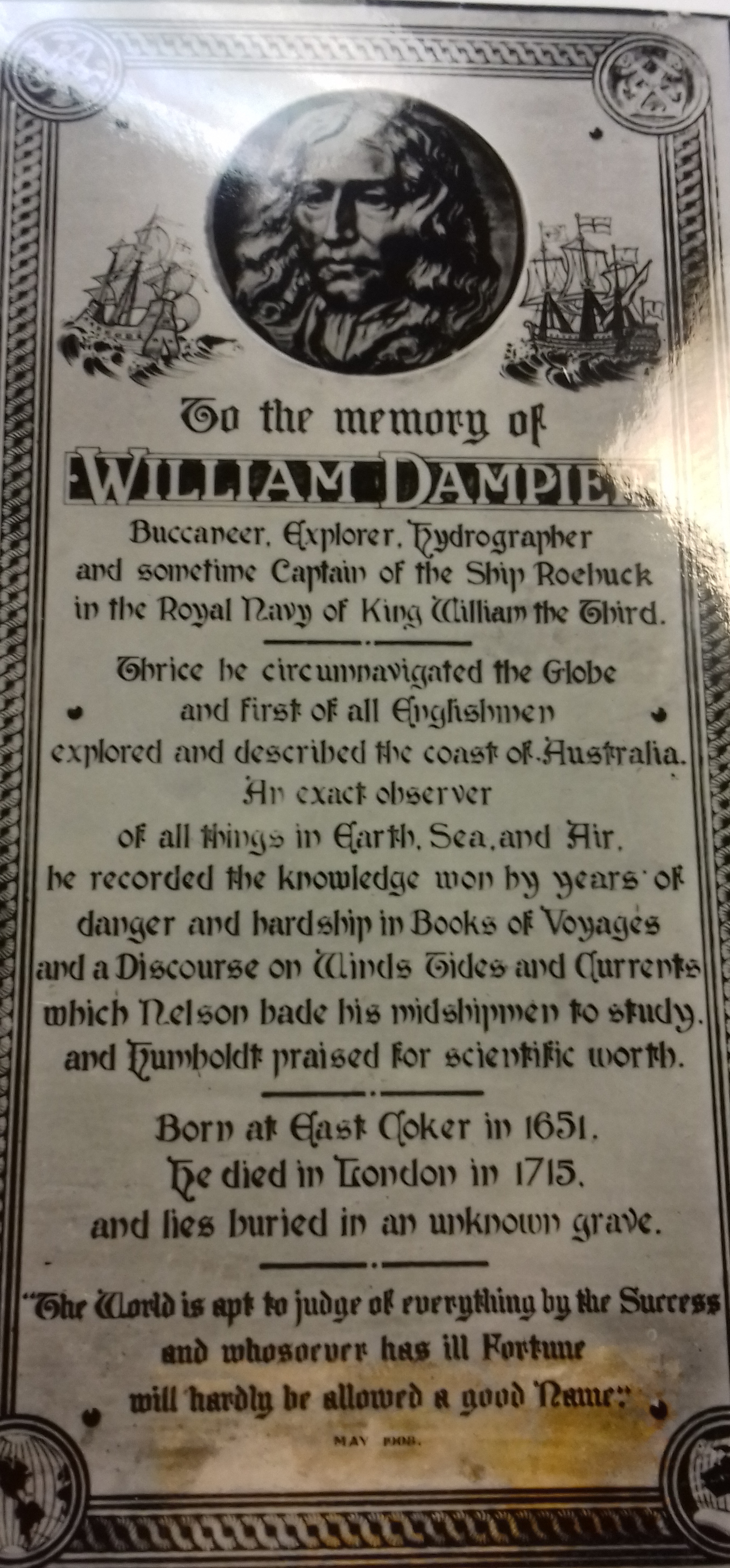 An and text about William Dampier