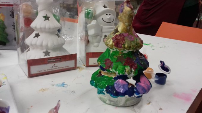 Ceramic Christmas tree painted by a child