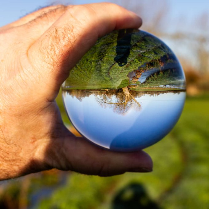 A glass sphere with images
