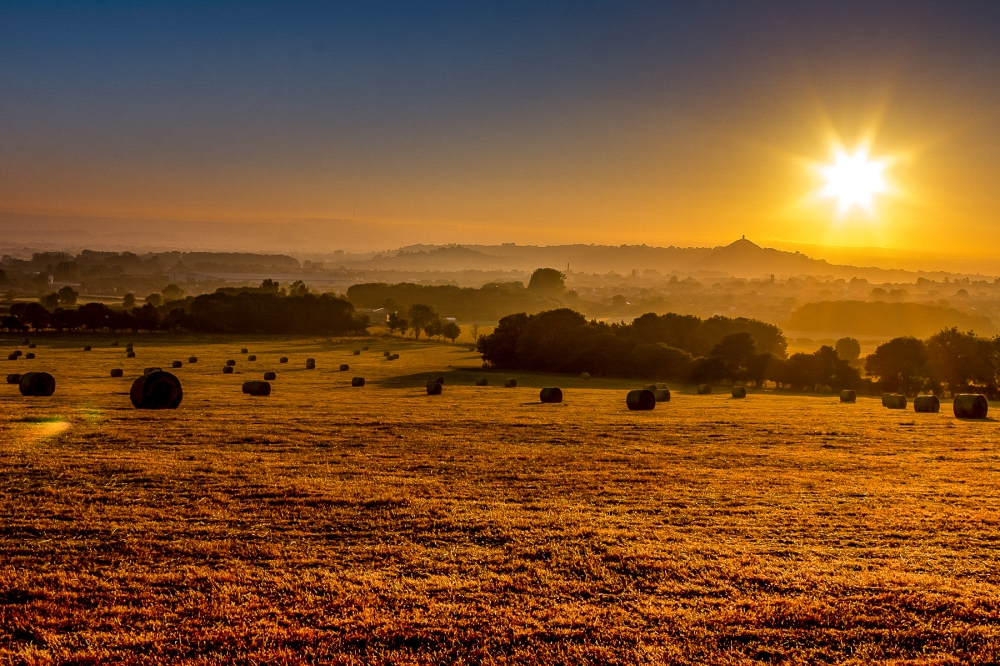 Golden light over fields with hay bales in the foreground of Glastonbury