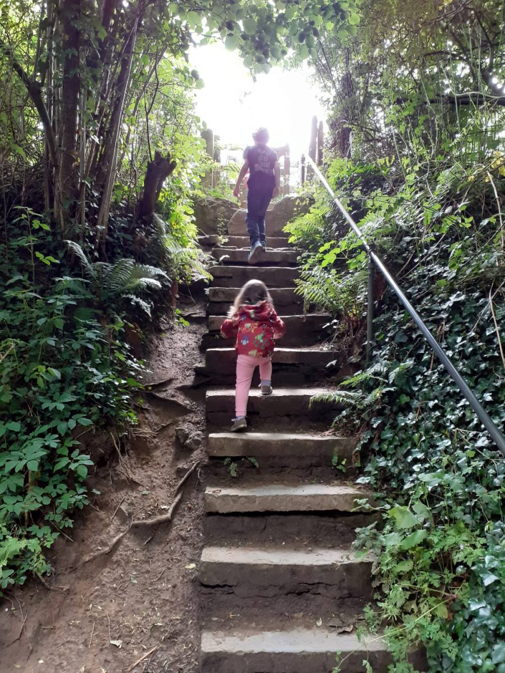 Stone steps with children
