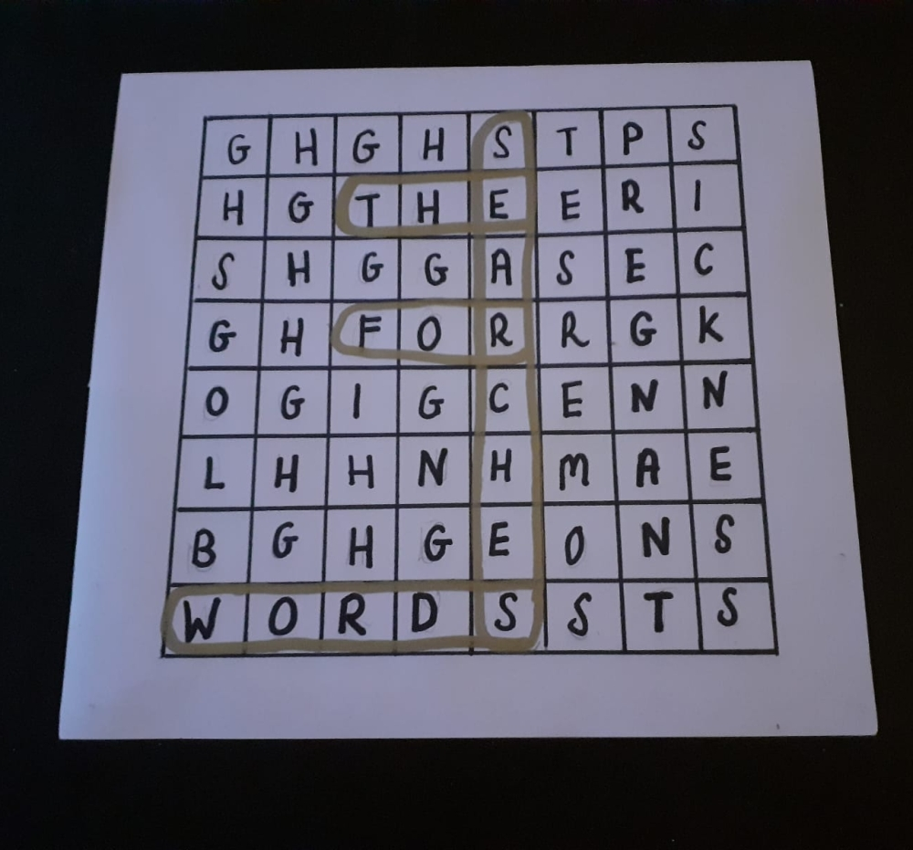 Wordsearch with the words searches for the words ci