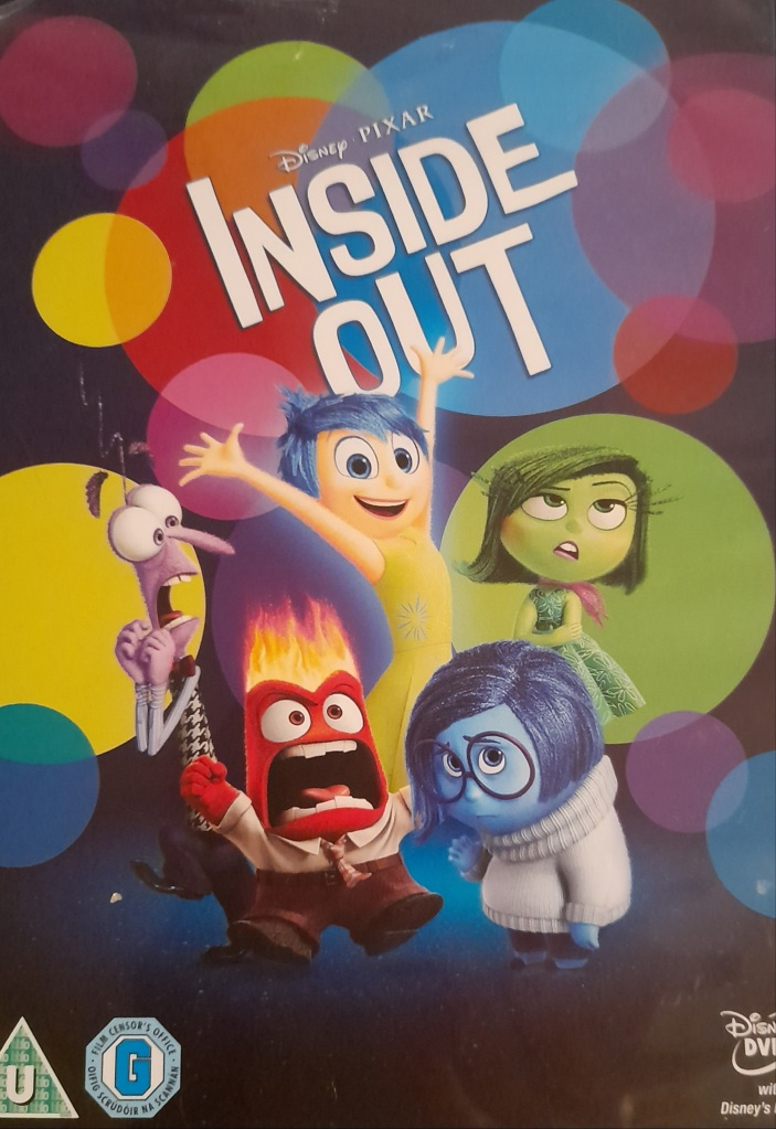 "DVD case with words ""Inside Out"" and 5 colourful characters representing 5 emotions."