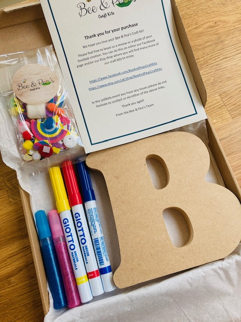 The letter B craft kit with pens, glitter glue and sequins