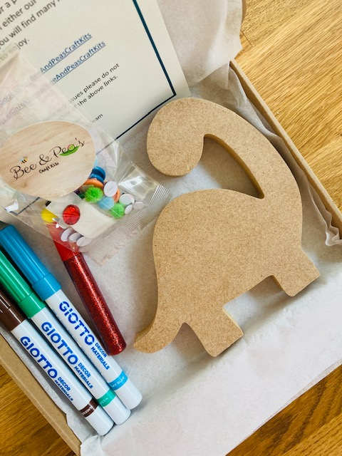 Dinosaur craft kit with glitter glue, pens and sequins