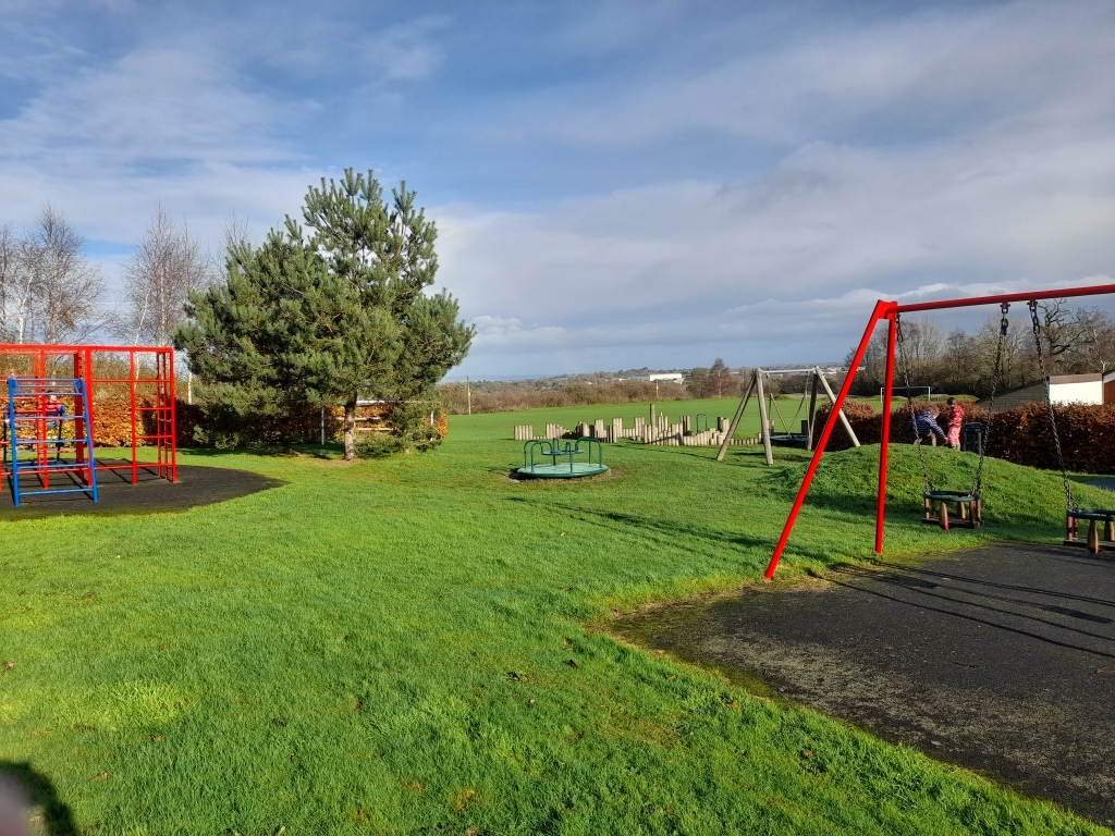 Play equipment in a green field with pine trees