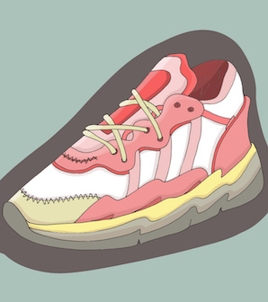 Illustration of light pink and white trainer