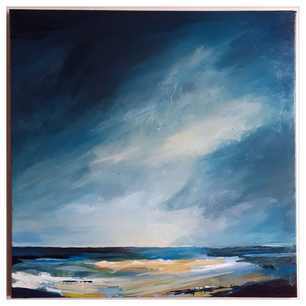 An painting of a very gloomy and dark sky but lighter areas nearer the ocean below.