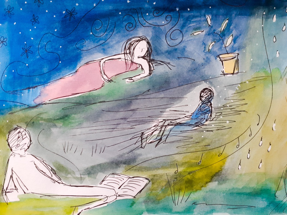 A dreamy watercolour painting with floaty people in the style of Marc Chagall