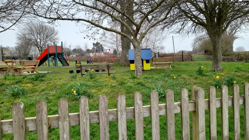 A fence in the foreground with primary coloured play equipment and yellow daffodils
