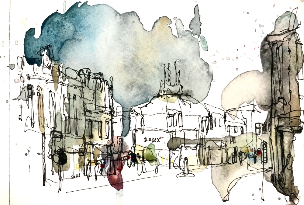 An ink drawing of a line of historic buildings with subtle blue, grey and brown tones