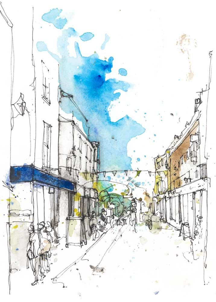 Bunting crosses the street in this celebratory ink scene. Browns and blue watercolour adds highlights.